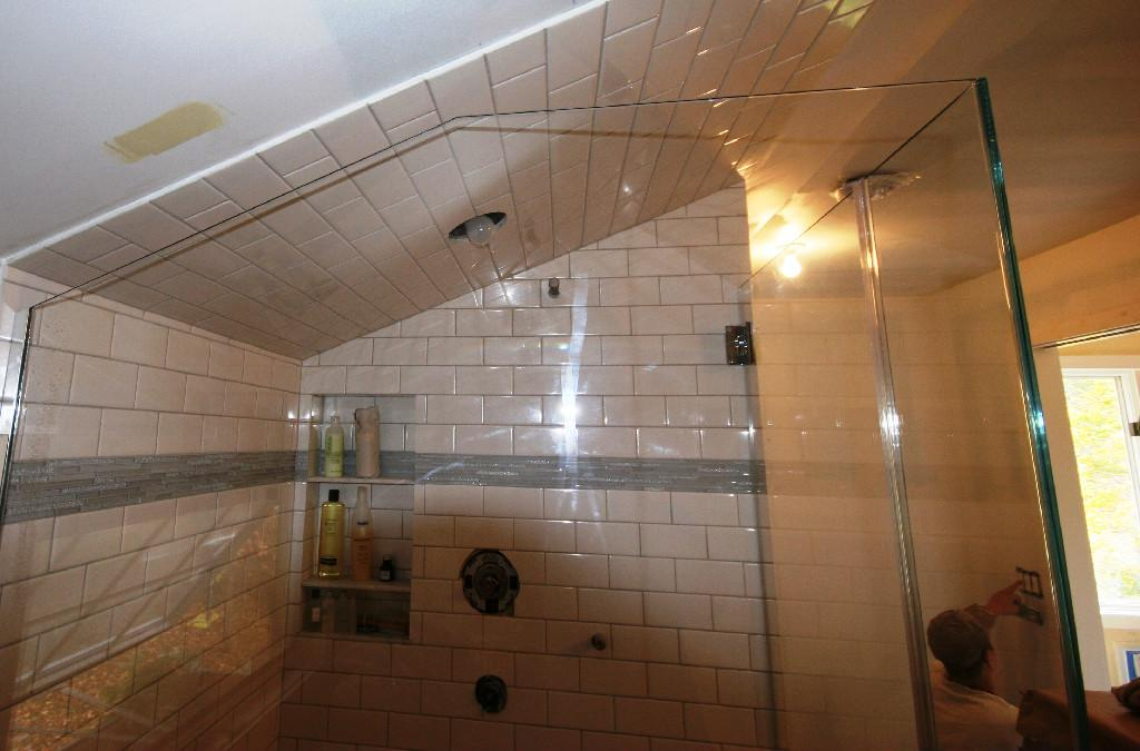Angled Ceiling Frameless Applications: Cold Spring Shower Doors